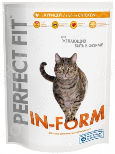 Корм сухой для кошек Perfect Fit In-Form rich in ChickenСухой корм<br>Корм сухой для кошек Perfect Fit In-Form rich in Chicken сбалансированный рацион для ежедневного питания вашего любимца. Высокая энергетическая ценность удовлетворит потребности животного, при этом у вас не возникнет необходимости скармливать вашему питомцу большие порции. Корм специально разработан для поддержания оптимальной массы тела у кошек со склонностью к избыточному весу:  Специальная рецептура позволяет снизить потребление калорий в каждом кормлении вплоть до 20 .  L-карнитин в составе способствует расщеплению жиров.  Содержит таурин для поддержания здоровья сердца.  Не содержит ароматизаторов, красителей, консервантов. Если вы решили перевести своего питомца на новый рацион, то делайте это постепенно в течение 7 дней. Просто кормите кошку смесью этого корма с предыдущим, со временем уменьшая количество последнего. Ваш верный друг оценит новое лакомство, ведь корм изготовлен из отборных ингредиентов и отличается превосходным вкусом. Внимание! Не забывайте о свежей воде, которая должна быть постоянно в миске вашего питомца.<br>