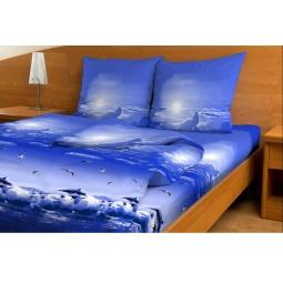 фото Комплект постельного белья с бамбуковыми волокнами. 2-спальный. Цвет: синий. Модель: Океан