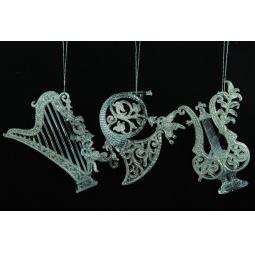 фото Елочное украшение Crystal Deco «Музыкальные инструменты». В ассортименте. Цвет: белый, серебристый