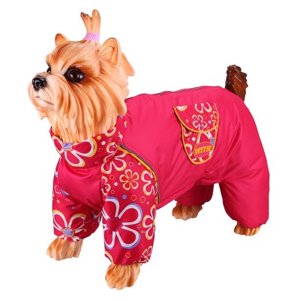 фото Комбинезон-дождевик для собак DEZZIE «Мопс». Цвет: красный. Материал подкладки: нет