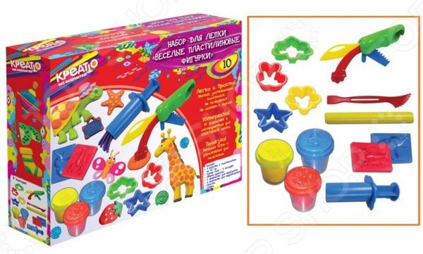 Набор для лепки из пластилина Росмэн «Веселые фигурки»Лепка из пластилина<br>Набор для лепки из пластилина Росмэн Веселые фигурки это набор пластилина для создания предметов с использованием формочек, он идеально подходит для создания разнообразных зверей. В набор входит: застывающий пластилин 3х50 гр., супер нож - 3 насадки, шприц-давилка, 4 формочки для вырезания, 2 формочки для выдавливания, скалка, стека. Этот материал легко можно снова собрать в баночку, он легко застывает а воздухе за несколько часов. Пластилин безопасен, обладает отличными пластичными свойствами и очень приятен на ощупь.<br>