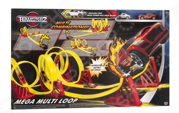 Трек HTI «Mega Multi Loop»Игровые наборы для мальчиков<br>Трек HTI Mega Multi Loop станет отличным подарком для юных любителей автомобильных гонок. Опасный путь длинной шесть метров с механической пусковой установкой позволит отправлять автомобили по трассе с шестью петлями прямиком через кольцо огня. Все элементы выполнены из высококачественных нетоксичных материалов, поэтому полностью безопасны для детей.<br>