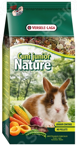 Корм для кроликов Versele-Laga Cuni Junior NatureКорм<br>Корм Versele-Laga Cuni Junior Nature предназначен специально для молодых и карликовых кроликов. Ваш питомец будет в восторге от своего нового блюда. Семена, травы и овощи все эти компоненты не только разнообразят рацион пушистого зверька, но и обогатят его полезными витаминами, питательными веществами, микро- и макроэлементами. Высокое содержание клетчатки поможет правильному пищеварению. Сбалансированное лакомство легко усваивается, а также способствует равномерному стачиванию зубов домашнего любимца. Данный корм можно давать как основной, ведь он содержит все необходимое, чтобы грызун был сытым и здоровым. Основные преимущества корма Versele-Laga:  Уход за ротовой полостью и зубами грызуна;  Бережно высушенные овощи обеспечивают прекрасный вкус;  Низкая калорийность не позволит зверьку набирать лишний вес;  Целый комплекс витаминов для поддержания здоровья грызуна;  Экстракт Юкки снижает запах от выделений.<br>