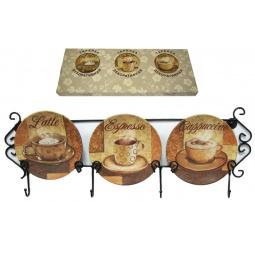 Купить Набор из 3-х тарелок Elan Gallery «Чашка кофе» горизонтальный