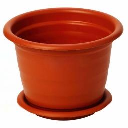 фото Кашпо с поддоном IDEA «Ламела». Диаметр: 13 см. Цвет: коричневый. Объем: 800 мл
