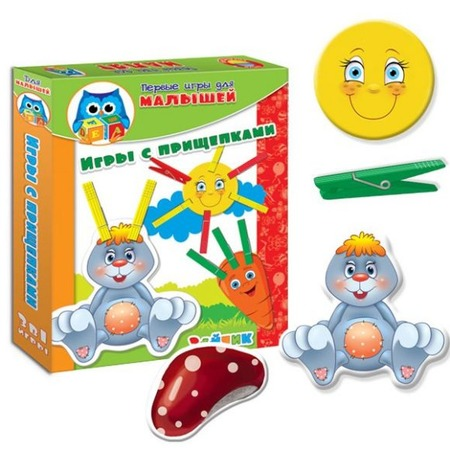 Купить Игра настольная развивающая Vladi Toys «Прищепочки. Зайка»