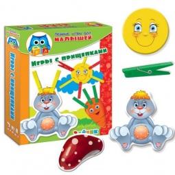 фото Игра настольная развивающая Vladi Toys «Прищепочки. Зайка»