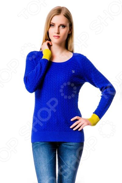 10022. Цвет: желтый Свитер Mondigo 10022. Цвет: синий с желтыми манжетами