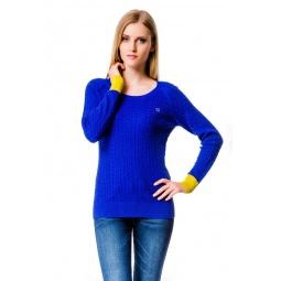 фото Свитер Mondigo 10022. Цвет: синий с желтыми манжетами