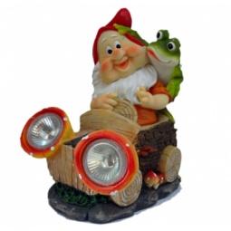 фото Фонарь декоративный на солнечной батарее Valenсia «Гном и лягушка»