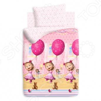 Детский комплект постельного белья Непоседа «Маша и Медведь. День рождения» непоседа непоседа комплект постельного белья в кроватку маша и медведь машин сон синий