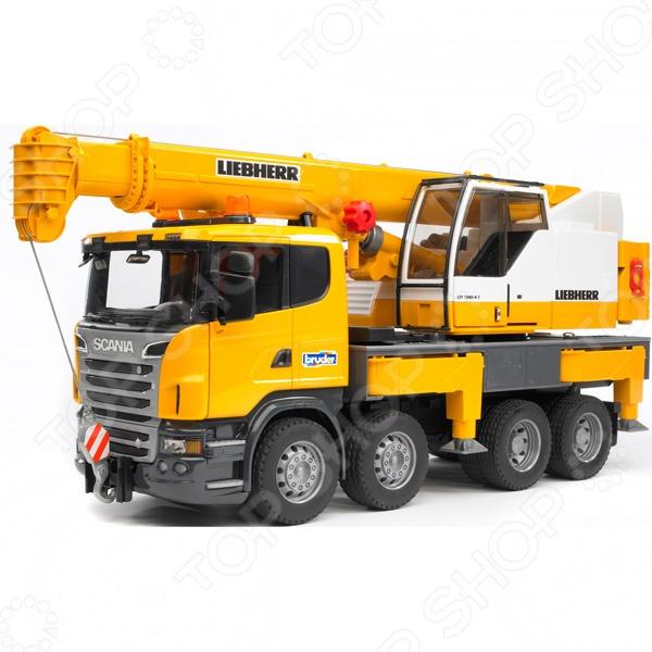 Автокран Bruder Scania машины bruder лесовоз scania с портативным краном и брёвнами