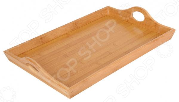 Поднос для сервировки Regent Bamboo 93-BM-7-02.2Подносы<br>Поднос для сервировки Regent Bamboo 93-BM-7-02.2 изящное и практичное изделие, которое станет замечательным дополнением кухонного интерьера. Поднос можно использовать для перемещения сразу нескольких блюд, а также в для сервировки фруктов или кондитерских изделий. Он будет гармонично смотреться на обеденном столе и защитит его поверхность от появления следов. Изготовленный из натурального бамбука поднос внесет в помещение особый уют и тепло, поможет обновить обстановку кухни. Изделие дополнено двумя рукоятками и небольшими бортиками для удобства переноса.<br>