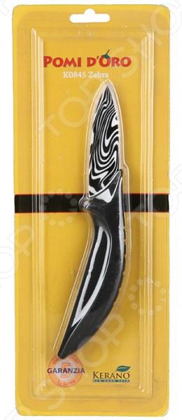 Нож керамический POMIDORO K0845Ножи<br>Нож POMIDORO K0845 с лезвием из высококачественной керамики станет незаменимым на вашей кухне. Клинок белого цвета изготовлен из особого нано-материала Kerano , который не содержит вредные примеси в т.ч. перфоктановую кислоту PTFE , используемые для легированной стали. Идеально гладкая полированная поверхность лезвия легко моется, обладает антибактериальными свойствами, не впитывает и не передает запахи пищи при параллельной нарезке различных продуктов. Нож POMIDORO K0845 идеально подойдет для шинковки, нарезки, чистки и даже элементов карвинга. Благодаря сверхвысокой твердости керамического лезвия, ножом можно резать без заточки долгие годы, на нем не появляются царапины и сколы и при этом он ощутимо легче стального. Эргономичная рукоять изделия удобно ложится в ладонь, чтобы рука не уставала от долгой работы. Выполнена из прорезиненного пластика, поэтому проста в уходе и очень надежна. С ножом POMIDORO K0845, вы почувствуете себя профессиональным шеф-поваром.<br>