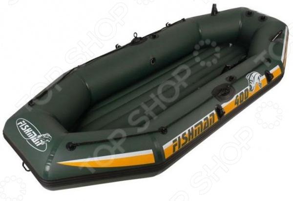Лодка надувная Jilong Fishman II 400 SetЛодки надувные<br>Лодка надувная Jilong Fishman II 400 Set моторно-гребного типа, рассчитана на троих взрослых и одного ребенка. Основной материал прочный армированный ПВХ, дно лодки надувное. Двухуровневые сидения обеспечивают максимально комфортное размещение пользователей. Есть возможность дополнительного подвеса электромотора, манометра и тента на металлической основе. Лодка оснащена надежными держателями для весел и удочек, а также специальными креплениями для весел. Имеется вместительный карман для хранения различных мелочей. Безопасность использования изделия обеспечивает специальная трехкамерная конструкция два борта и один пол. По периметру лодки расположена стропа. В комплекте:  лодка надувная;  весла алюминиевые;  насос;  заплатка на клейкой основе;  сумка для хранения и переноски.<br>