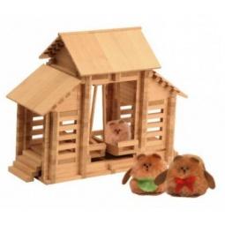 фото Конструктор деревянный Теремок «Лесные качели с канатной дорогой и куклами»