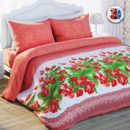 Купить Комплект постельного белья Любимый дом Красные тюльпаны. 2-спальный