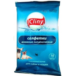 фото Салфетки влажные гигиенические для собак и кошек Cliny К101