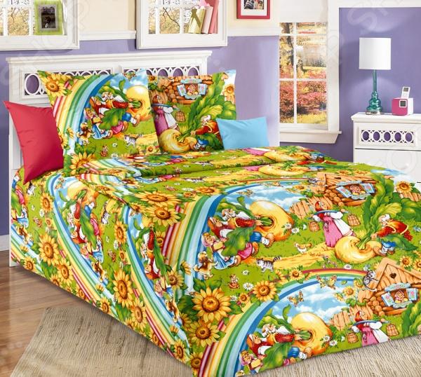 Детский комплект постельного белья Бамбино «Репка»Детские комплекты постельного белья<br>Детский комплект постельного белья Бамбино Репка это очаровательное постельное белье, которое обязательно порадует вашего кроху. Чтобы сон вашего ребенка был приятным, а пробуждение легким, необходимо подобрать то постельное белье, которое будет соответствовать его интересам. Приятный цвет, нежный принт и высокое качество ткани обеспечат крепкий и спокойный сон. 100 хлопок, из которого сшит комплект отличается следующими качествами:  достаточно мягка и приятна на ощупь, не имеет склонности к скатыванию, линянию, протиранию, обладает повышенной гигроскопичностью, практически не мнется, не растягивается, не садится, не выгорает, гипоаллергенна, хорошо отстирывается и не теряет при этом своих насыщенных цветов;  за счёт специального переплетения волокон ткань устойчива к механическим воздействиям. Ткань устойчива к механическим воздействиям. Перед первым применением комплект постельного белья рекомендуется постирать. Перед стиркой выверните наизнанку наволочки и пододеяльник. Для сохранения цвета не используйте порошки, которые содержат отбеливатель. Рекомендуемая температура стирки: 40 С и ниже без использования кондиционера или смягчителя воды.<br>