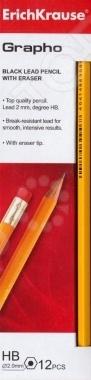 Набор карандашей простых Erich Krause Grapho включает в себя двенадцать чернографитовых карандашей с ластиком. Эти канцелярские предметы пригодятся и ученикам в школе, и офисным работникам, и любителям рисовать. Пишущий стержень карандаша вставлен в деревянную оправу. Карандаш легко затачивается, а грифель не ломается.