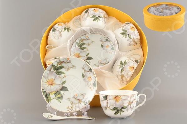 Чайный набор с ложками Elan Gallery «Белый шиповник» 730482 vervaco набор для вышивания лицевой стороны наволочки белый шиповник 40 40см