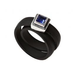 фото Кольцо Jenavi Парнасида. Вставка: Swarovski синий кристалл. Размер: 16