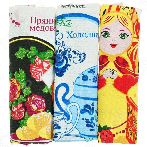 Комплект из 3-х вафельных полотенец подарочный BONITA «Народные рецепты» комплект из 2 х фартуков bonita дочки матери
