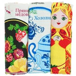фото Комплект из 3-х вафельных полотенец подарочный BONITA «Народные рецепты»