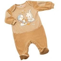 Купить Комбинезон IDEA KIDS «Весёлые полосатики» с вышивкой. Цвет: бежевый