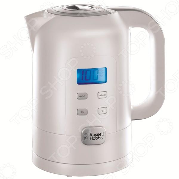 Чайник Russell Hobbs 21150-70Чайники электрические<br>Удобный и простой в использовании чайник Russell Hobbs 21150-70 изготовлен из прочного термостойкого пластика. Благодаря мощности в 2200 Вт и нагревательному элементу скрытого типа, модель быстро вскипятит воду объемом до 1,7 литра. Чайник Russell Hobbs 21150-70 оснащен индикатором включения выключения, индикатором уровня воды и съемным фильтром для очистки от накипи. Главной же особенностью модели является электронное управление с возможностью задавать необходимый температурный режим в диапазоне от 60 до 100 С и поддерживать заданную температуру. Вся сопутствующая информация отображается на дисплее. Цоколь с центральным контактом позволяет поворачивать прибор на 360 . Кабель удобно сворачивать и хранить в подставке. Для вашей безопасности предусмотрены функции автоматического отключения и блокировки крышки. Благодаря стильному дизайну, чайник Russell Hobbs 21150-70 впишется в любую современную кухню.<br>