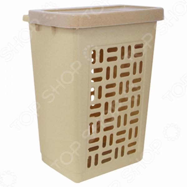 Корзина для белья IDEA М 2610Баки. Корзины для белья<br>Корзина для белья IDEA М 2610 станет важным дополнением любой ванной комнаты, потому как позволит аккуратно хранить все нужное белье. Благодаря необычному дизайну она легко впишется в интерьер любой ванной комнаты и создаст уют в помещении. Модель выполнена из прочного пластика, что значительно продлит срок службы изделия. Кроме того, боковые стенки корзины обладают фигурными отверстиями для лучшей циркуляции воздуха.<br>