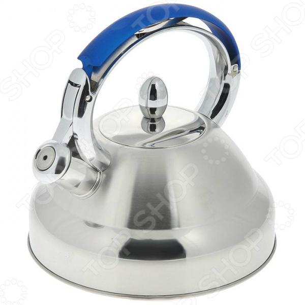 Чайник со свистком Bekker DeLuxe BK-S407. В ассортиментеЧайники со свистком и без свистка<br>Товар продается в ассортименте. Цвет изделия при комплектации заказа зависит от наличия товарного ассортимента на складе. Чайник Bekker DeLuxe BK-S407 оборудован свистком для определения закипания воды и изготовлен из высококачественной нержавеющей стали. Корпус из стали долговечен, не подвергается коррозии и обладает антиаллергенными свойствами. Фиксированная ручка модели очень удобна. Изготовлена из металла и частично покрыта силиконом. На ней находится механизм открытия носика-свистка. Широкое капсульное дно распределяет тепло равномерно по всей поверхности, что обеспечивает быструю скорость закипания воды и устойчивость изделия. Герметичная крышка не пропускает пар, поэтому вода долго остается горячей. Изящная форма чайника и матовая поверхность корпуса с зеркальной полосой придают ему эстетичности на столе. Подходит для всех видов плит, включая индукционные.<br>