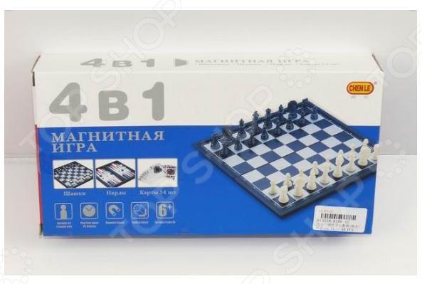 Игра настольная 4 в 1: шахматы, шашки, нарды, карты Shantou Gepai 621955Шахматы и шашки<br>Игра настольная 4 в 1: шахматы, шашки, нарды, карты Shantou Gepai набор логических игр, который подходит для самых маленьких, благодаря большим деталям. Выполнен из качественного материала безопасного для детей. Игра в пазл отлично развивает мелкую моторику рук, координацию движений, тренирует внимание и память и формирует такие качества как настойчивость и целеустремленность. Настольная игра позволит обучить вашего ребенка основным правилам логических игр. Размер собранной картинки пазла 48х68 см. Такой набор станет прекрасным подарком для ребенка.<br>