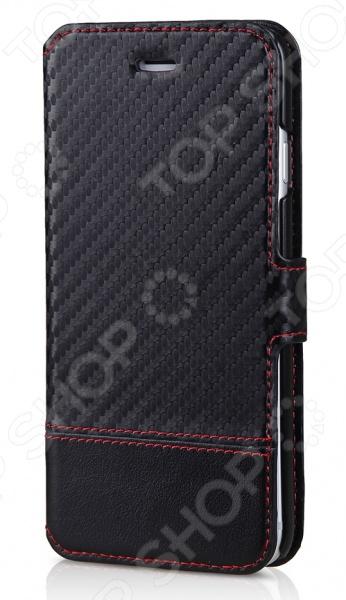 Чехол для iPhone 6 ITSKINS Angel-BKCBЗащитные чехлы для iPhone<br>Чехол для iPhone 6 ITSKINS Angel-BKCB надежно защитит ваш смартфон при повседневном использовании от грязи, пыли, царапин и потертостей. Представленная модель выполнена в виде книжки, поэтому от внешнего воздействия защищена не только задняя крышка, но и дисплей дорогостоящего девайса. Чехол изготовлен из искусственной кожи с фактурой под карбон, благодаря чему не скользит в руках. Яркая контрастная строчка придает изделию стильный и модный вид. Чехол не блокирует какие-либо разъемы устройства, а потому не препятствует комфортному использованию. На внутренней стороне имеется отделение для кредитной карты. ITSKINS Angel-BKCB придаст девайсу уникальный вид и подчеркнет вашу индивидуальность.<br>