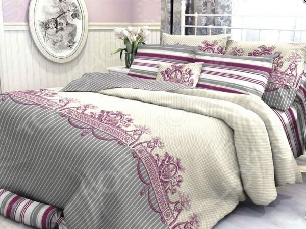 Комплект постельного белья Verossa Constante Gimeney. 2-спальный2-спальные<br>Здоровый и комфортный сон зависит не только от того насколько ваш матрас и подушка мягкие и удобные, но и, не в последнюю очередь, от того на каком постельном белье вы спите ежедневно. Очень важно при выборе постельного белья ориентироваться не только на его цену и яркий дизайн, но и на качество, и тонкость материала. Жесткие и плотные ткани, пусть даже и натуральные, не подходят для ежедневного использования, ведь они могут причинить коже удивительный дискомфорт, вызвав её покраснения и раздражения. Комплект постельного белья Verossa Constante Gimeney относится к постельному белью перкалевой группы, которая является идеальным решением для повседневного использования. При производстве этого материала плотного полотняного переплетения, используются некрученые плотные и тонкие нити из длинноволокнистого хлопка. Их сочетание делает перкаль одновременно тонким и прочным. Поэтому в отличии от постельного белья произведенного из бязи, данный комплект будет более гладким, мягким и шелковистым на ощупь. На таком постельном белье не будут возникать катышки, которые делают его не только не привлекательным, но и очень неудобным. Преимущества постельного белья Verossa Constante Gimeney:  натуральность и экологичность материалов;  долговечность, прочность и износостойкость белья;  легкий и комфортный сон в любой сезон;  приемлемая цена. Другой особенностью комплекта постельного белья Verossa Constante Gimeney является стильный и современный дизайн, который придется по вкусу даже самым взыскательным ценителям стиля, красоты и практичности. Элегантный классический принт будет достойным украшением уютного интерьера вашей спальни. Он привнесет в него стиля и современности. Рисунок не будет терять своей яркости и точности даже после многочисленных стирок и использования.<br>