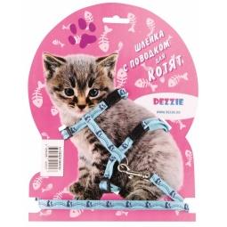 фото Набор для котят: шлейка и поводок DEZZIE «Китти». Цвет: голубой