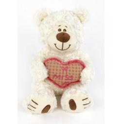 фото Мягкая игрушка Fluffy Family «Мишка Митя с сердцем». Размер: 28 см. Цвет: белый