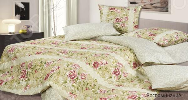 Комплект постельного белья Ecotex «Воспоминание». 2-спальный2-спальные<br>Комплект постельного белья Ecotex Воспоминание это незаменимый элемент вашей спальни. Человек треть своей жизни проводит в постели, и от ощущений, которые вы испытываете при прикосновении к простыням или наволочкам, многое зависит. Чтобы сон всегда был комфортным, а пробуждение приятным, мы предлагаем вам этот комплект постельного белья. Красивое оформление и высокое качество комплекта гарантируют, что атмосфера вашей спальни наполнится теплотой и уютом, а вы испытаете множество сладких мгновений спокойного сна. В качестве сырья для изготовления этого изделия использованы нити хлопка. Натуральное хлопковое волокно известно своей прочностью и легкостью в уходе. Волокна хлопка состоят из целлюлозы, которая отлично впитывает влагу. Хлопок дышит и согревает лучше, чем шелк и лен. Не забудем, что хлопок несъедобен для моли и не деформируется при стирке. Комплект постельного белья выполнен из ткани сатин-комфорт. Полотно имеет гладкую и шелковистую лицевую поверхность, не уступающую по качеству шелку. Кроме того, данный тип ткани сохраняет свою прочность и привлекательный вид даже после многочисленных стирок. Главное, соблюдать рекомендации по уходу от производителя. Необходимо стирать при температуре, указанной на ярлычке, с использованием порошка для цветного белья. Не следует прибегать к применению хлорсодержащих средств и отбеливателей. Желательно выворачивать белье наизнанку перед стиркой. Постельное белье относится к коллекции Гармоника , сочетающей в себе свежие дизайнерские решения и высококачественные материалы.<br>