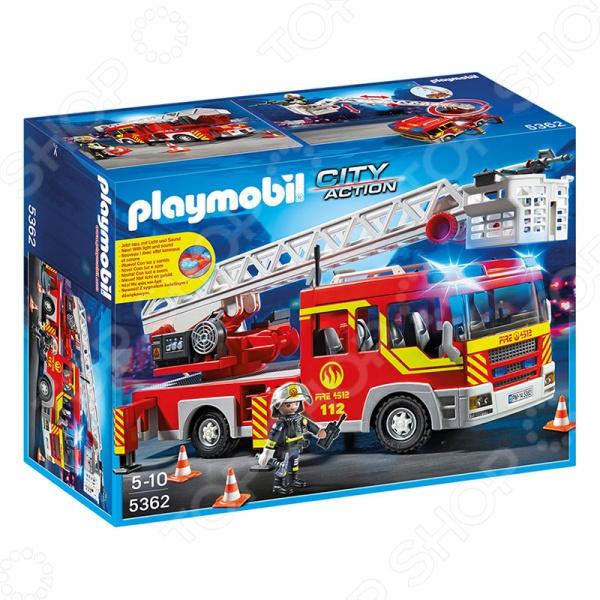 Конструктор игровой Playmobil 5362 «Пожарная служба: Пожарная машина с лестницей со светом и звуком» машинки siku пожарная машина с лестницей