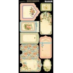 фото Набор стикеров Graphic45 Tags & Pockets Secret Garden