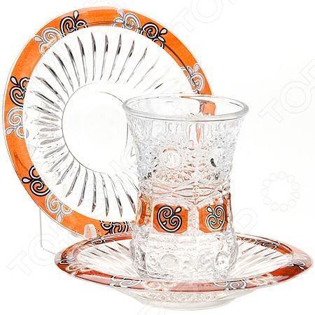 Набор стаканов и блюдца Loraine LR-24680Стаканы<br>Набор стаканов и блюдца Loraine LR-24680 - элегантный и красивый набор, который станет замечательным подарком для ваших родных и близких на любое торжество, будь то день рождения, свадьба, юбилей или новоселье. Набор выполнен из экологически чистого материала стекла. Такой набор станет настоящим украшением любого чаепития.<br>