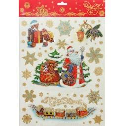 фото Пленка декоративная для окна Феникс-Презент 38621 «Дед Мороз и медвежонок»