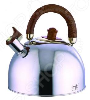 Чайник со свистком Irit IRH-404Чайники со свистком и без свистка<br>Чайник со свистком Irit IRH-404 изготовлен из нержавеющей стали. Объем чайника 2,5 л. Чайник оснащен свистком, подвижной не нагревающейся ручкой из термостойкого пластика, и имеет капсулированное дно с алюминиевой прослойкой.<br>