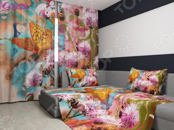 Комплект: фотошторы и покрывало Сирень «Цветы и бабочка»Фотошторы<br>Комплект: фотошторы и покрывало Сирень Цветы и бабочка элемент, способный украсить и оживить интерьер любой комнаты. Застелите ваш диван или кровать этим покрывалом, и привычная мебель станет еще уютнее, чем раньше. А шторы, выполненные в едином стиле с покрывалом, станут завершающим штрихом в оформлении комнаты. При этом такой комплект может стать хорошим подарком близкому человеку. В комплекте вы найдете:  Две фотошторы, размер каждой из которых составляет 145х260 см 3 см .  Покрывало размером 145х220 см 3 см . Оцените основные преимущества комплекта из коллекции бренда Сирень :  Оригинальный дизайн придаст изюминку интерьеру.  Сделано из качественных износостойких материалов. Изображение на ткани долго не линяет и не выгорает.  Рисунок нанесен на материал при помощи специальной технологии, создающей эффект 3D. Смотрится очень эффектно. Покрывало и шторы выполнены из ткани габардин, состоящей на 100 из полиэстера. На поверхности полотна заметны диагональные рубчики, полученные в результате саржевого плетения в процессе производства. В результате изделие отличается своей прочностью и долговечностью, сохраняет первоначальный вид в течение длительного времени. Рекомендуется ручная стирка при температуре 30 C или в стиральной машине в деликатном режиме. Шторы крепятся при помощи шторной ленты под крючки .<br>