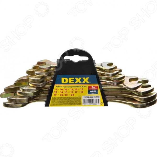 Набор ключей рожковых DEXX 27018-H8 набор гаечных рожковых ключей 6 24мм 8шт stayer profi 27037 h8