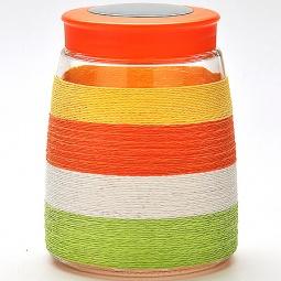 фото Банка для сыпучих продуктов Loraine. Оплётка: цветная нить. Высота: 16 см. Объем: 1150 мл