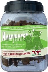 Лакомство для собак Green Qzin «Иммунитет-1. Рагу с индейкой и сельдереем»Лакомства<br>Лакомство для собак Green Qzin Иммунитет-1. Рагу с индейкой и сельдереем это аппетитное угощение, которое придется по вкусу даже самой привередливой собаке. Снек представляет собой профилактическое средство, которое не только понравится вашему псу, но и окажет положительное воздействие на организм, ведь лакомство не содержит консервантов, красителей, гормонов и антибиотиков и ГМО Любой кинолог скажет вам, что собаку следует дрессировать на послушание, а сделать это с помощью лакомства это очень легко! Но это не всё, ведь снек является не просто выгодным элементом поощрения собаки, но и легким способом отвлечь вашего любимца от других собак или пугающих его громких звуков.<br>
