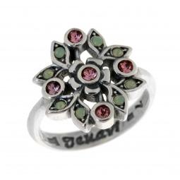 фото Кольцо Jenavi Эскарен. Вставка: Swarovski розовые и зеленые кристаллы. Размер: 17
