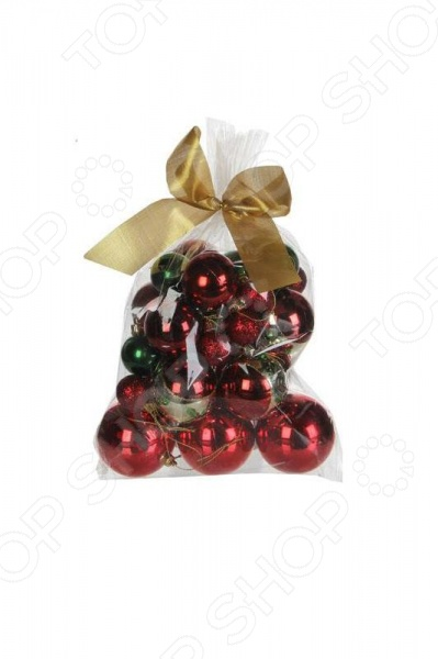 Набор новогодних шаров Christmas House 1694634Новогодние шары. Игрушки<br>Елочные игрушки уже давно стали настоящим символом Нового года. Они несут в себе не только декоративную функцию, но полностью передают все волшебство и красоту праздника. С их помощью вы сможете создать атмосферу непринужденного веселья и радости, у вас дома, а самые яркие и запоминающиеся елочные игрушки будут дарить вам теплоту воспоминаний. Наборы елочных игрушек помогут вам украсить елку в одном стиле, и сделать её похожей на настоящее новогоднее чудо. Набор новогодних шаров Christmas House 1694634 потрясающий комплект елочных игрушек, который станет настоящей изюминкой новогоднего декора. С их помощью вы не только украсите вашу елочку, но и дополните домашний интерьер некоторой торжественностью и сказочностью. В набор входят 25 новогодних шаров разных диаметров, выполненных в традиционной для новогодних праздников цветовой гамме: красной и зеленой. Каждый из них отличается оригинальным дизайном - матовым или глянцевым, которые будут отдавать мягким и приятным сиянием в свете ярких цветных огоньков праздничной гирлянды. С такими украшениями ваша праздничная елочка засверкает новыми цветами и формами. Набор хранится в прозрачным пакетом дополнен кокетливым золотистым бантом. Набор новогодних шаров Christmas House 1694634 также станет великолепным новогодним сувениром для ваших родных и друзей!<br>