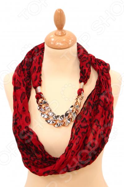 Шарф Milana Style «Рубин»Шарфы<br>Шарф Milana Style Рубин это шарф, который представляет собой известную и популярную модель для всех возрастов, идеально подходит для стиля casual. Обладательницы этого чудесного изделия, могут накинуть шарф на плечи, шею или же накинуть платок на голову обернув кончики во круг шеи, вы получите при этом шарф и шапку. Леопардовый узор на хлопковой ткани и бижу-цепочка смотрятся очень стильно и необычно. Платок сделан из мягкой ткани Хлопок 50 ; Полиэстер 50 , украшен интересным узором. Изделие будет отлично гармонировать с любыми предметами вашего гардероба.<br>